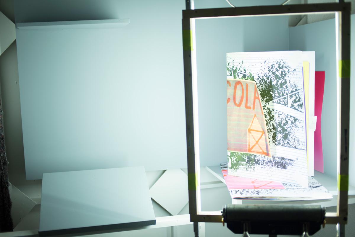 BRICOLAGE – édition collective réalisée durant l'exposition La chaine – Bricodrama - décembre 2017 à IPN BRIbes COLAborative GEnérées par la chaine de production. 25 exemplaires plus ou moins identiques – RISO / sérigraphies / estampes à l'offset, encre thermique, aquatinte, relié à la main & à la perceuse. 99,9% de papiers de récup.