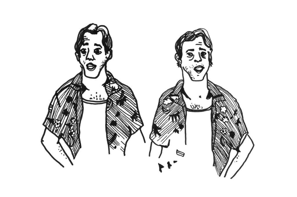 Série de dessins d'après les photos d'acteurs de la série Buffy Contre les vampires, à l'envers & à l'endroit pour une carte de voeux du collectif IPN.
